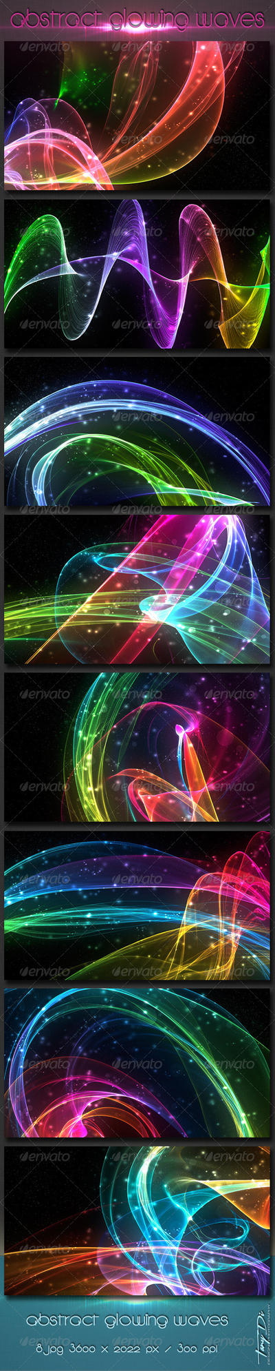 Abstract Glowing Waves 1 by AzureRayArt