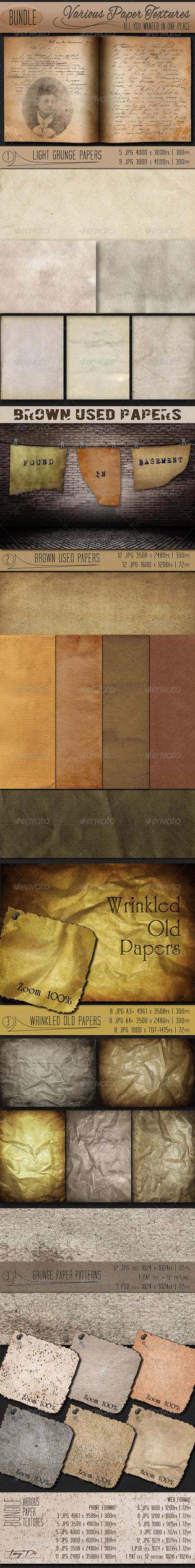 Various Paper Textures | Bundle | GraphicRiver by AzureRayArt