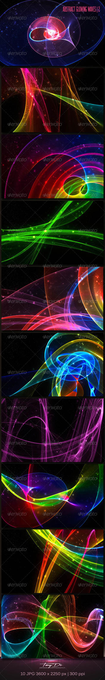 Abstract Glowing Waves 2 | GraphicRiver by AzureRayArt