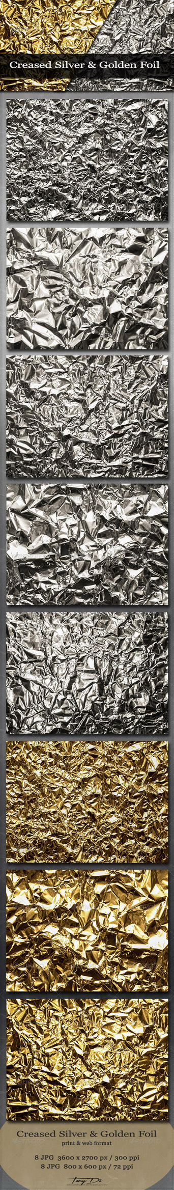 Creased Silver and Golden Foil by AzureRayArt