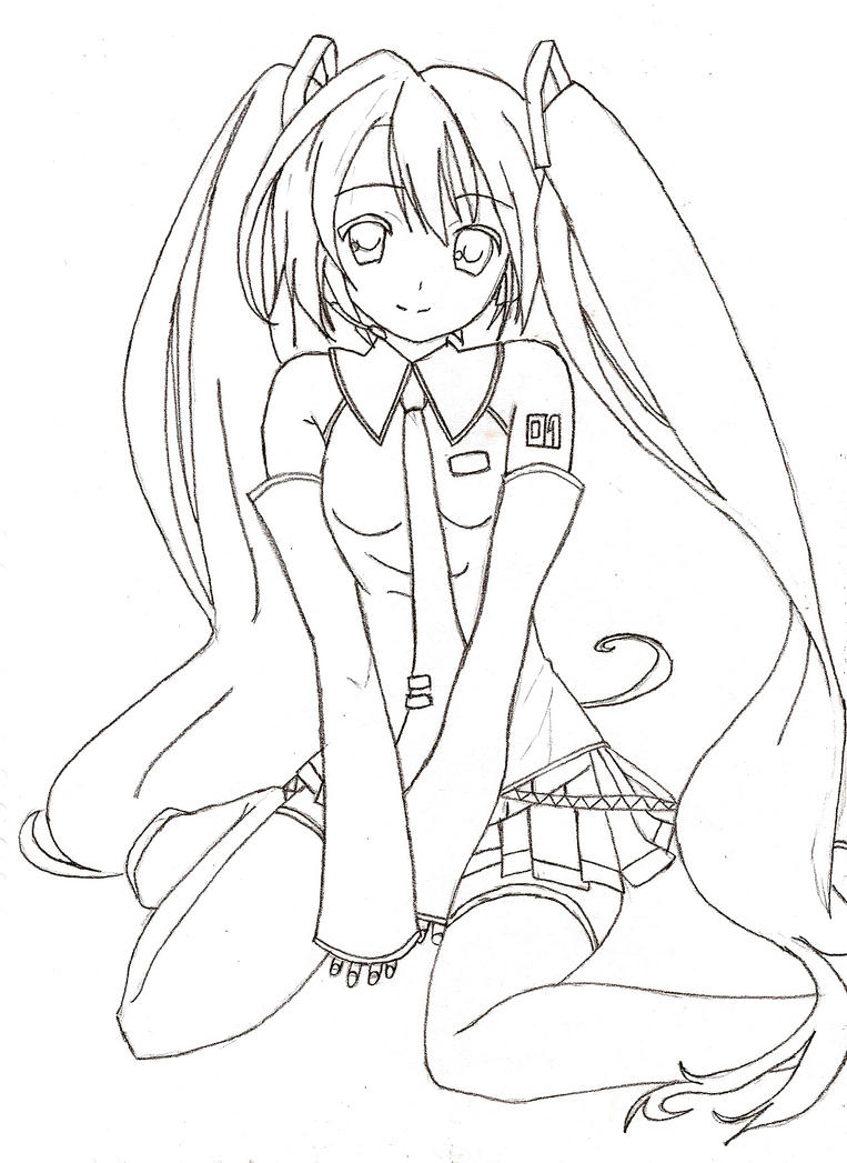 Unfinished Hatsune Miku By Wtfgabs On Deviantart Hatsune Miku Coloring Pages