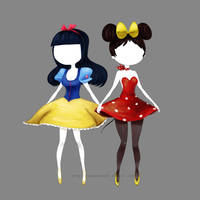 Snow White and Minnie Mouse by lazerskunk