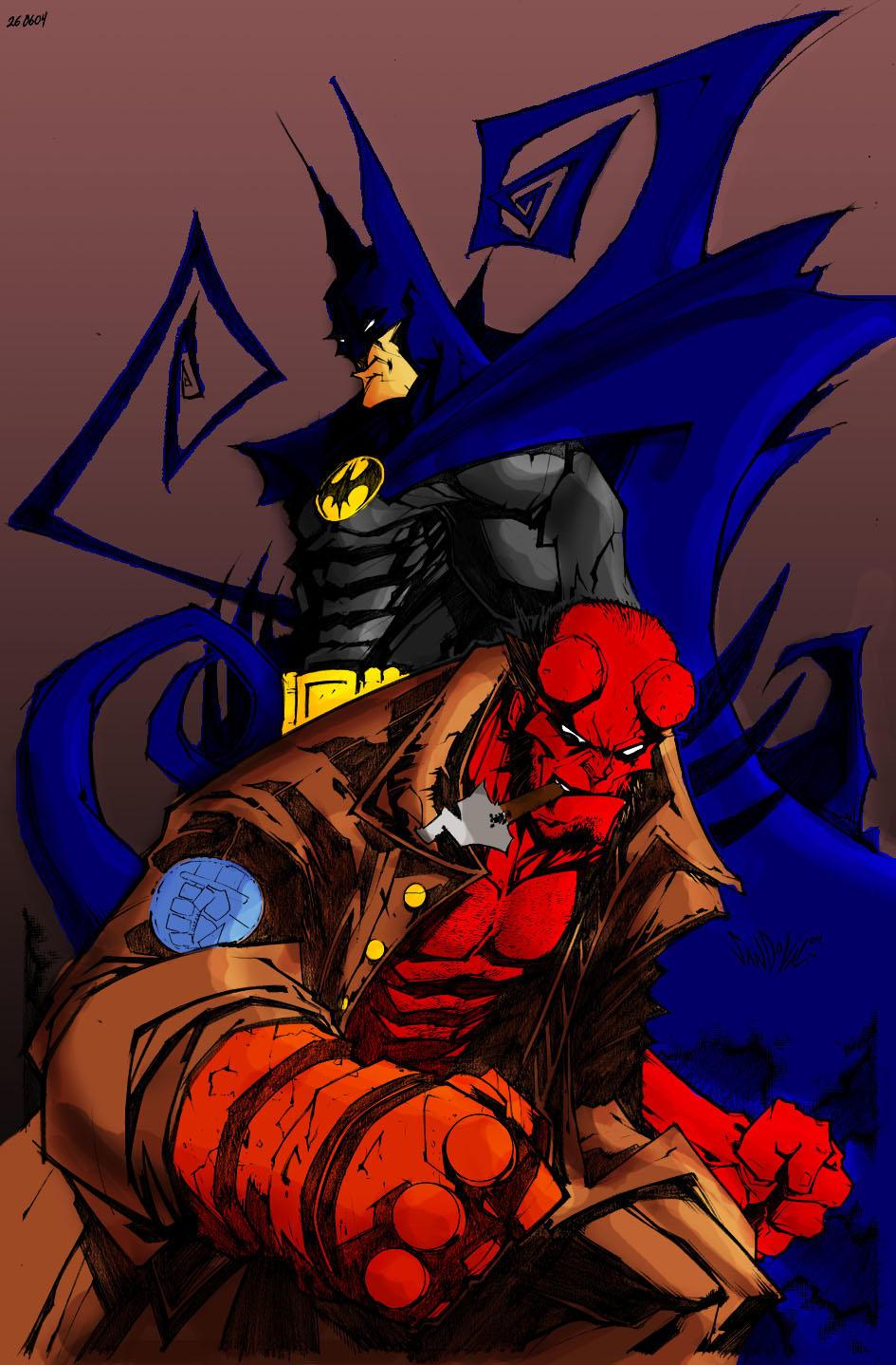 Batman and Hellboy by Deathring2000