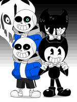 sans and Bendy by SuperAlfredoUniverse
