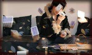 Izaya Orihara- flying cards by Tenraii