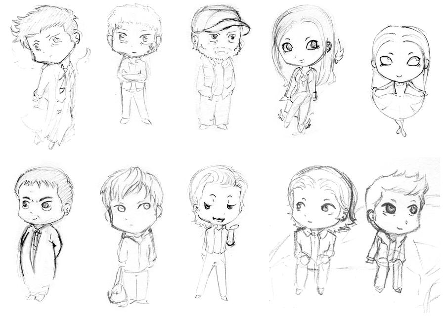 The gallery for castiel dean sam chibi for Supernatural coloring pages