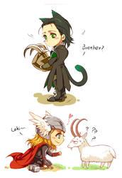 Marvel-Thor and Loki by Athew
