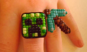 Creeper + Diamond Pickaxe Rings by delicioustrifle