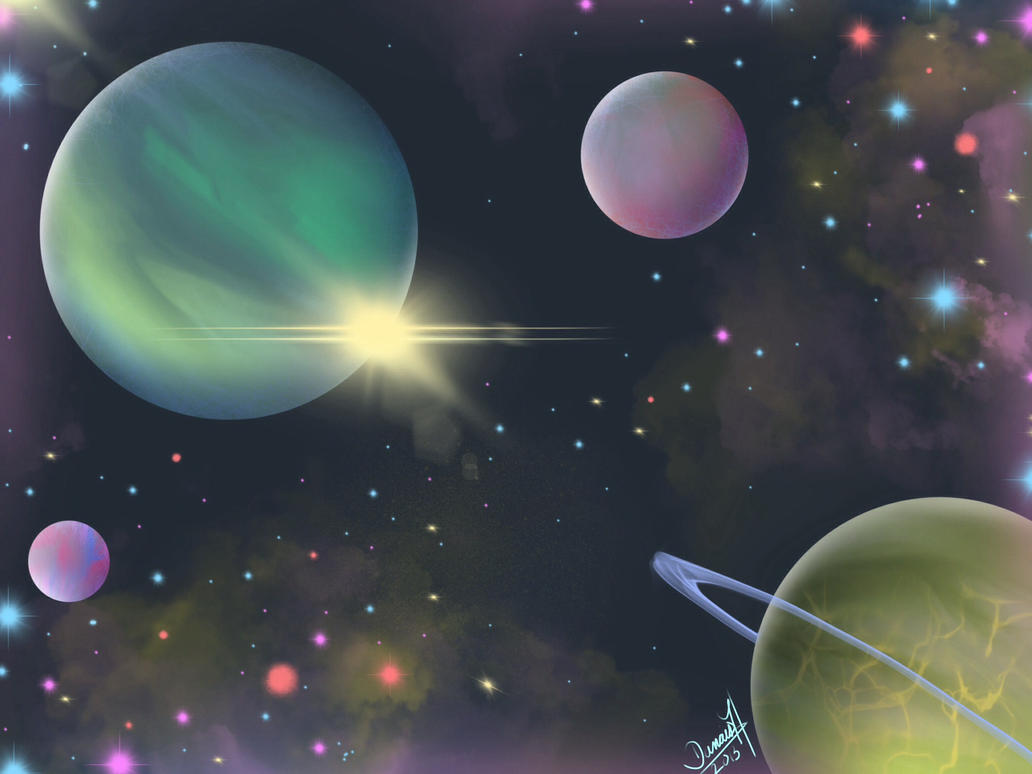 Sparkly planets by DanaisH