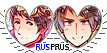 APH RusPrus Hearts Couple Stamp by World-Wide-Shipping