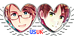 APH USUK Hearts Couple Stamp by World-Wide-Shipping
