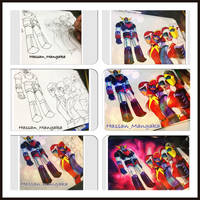 Steps of drawing for grendizer by HasssanArt