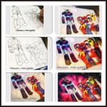 Steps of drawing for grendizer