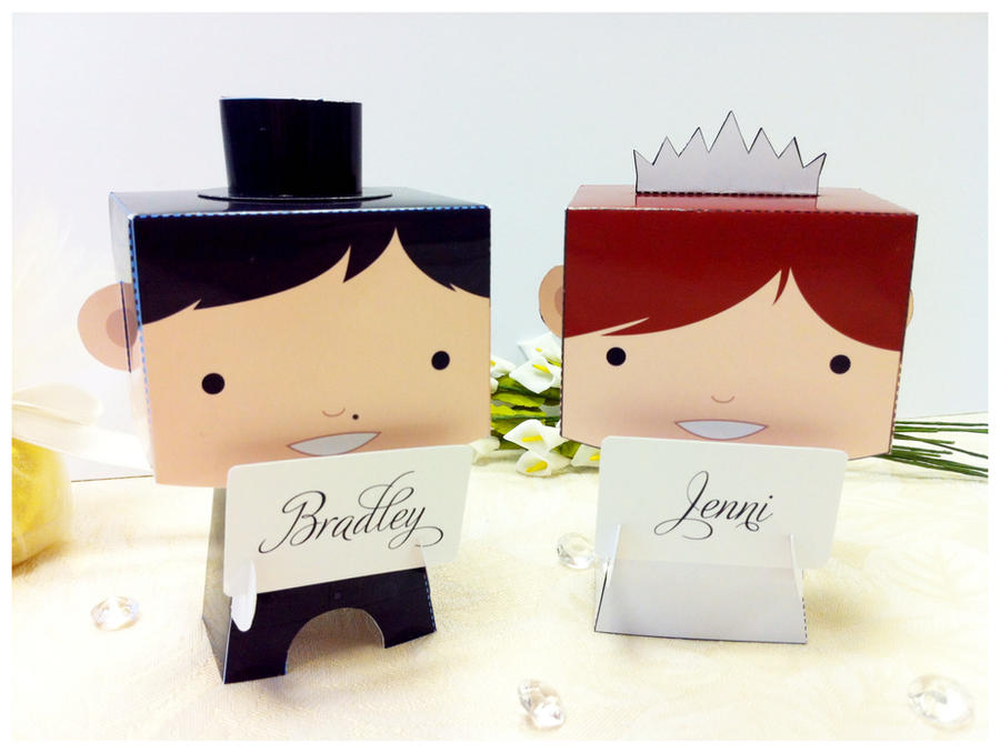 Paper Toy Wedding Couple by creaturekebab