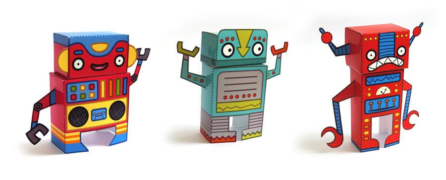 Robot Paper Toys by creaturekebab