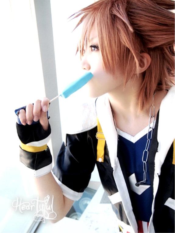 Sora Eating Sea Salt Ice cream by Heartyful