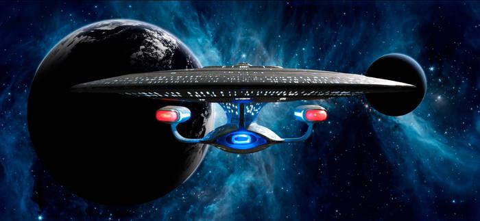 Enterprise D leaving orbit