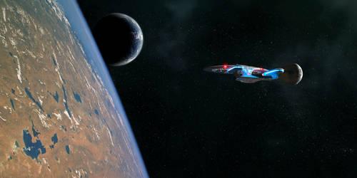 Enterprise D entering orbit AGAIN... by Robby-Robert
