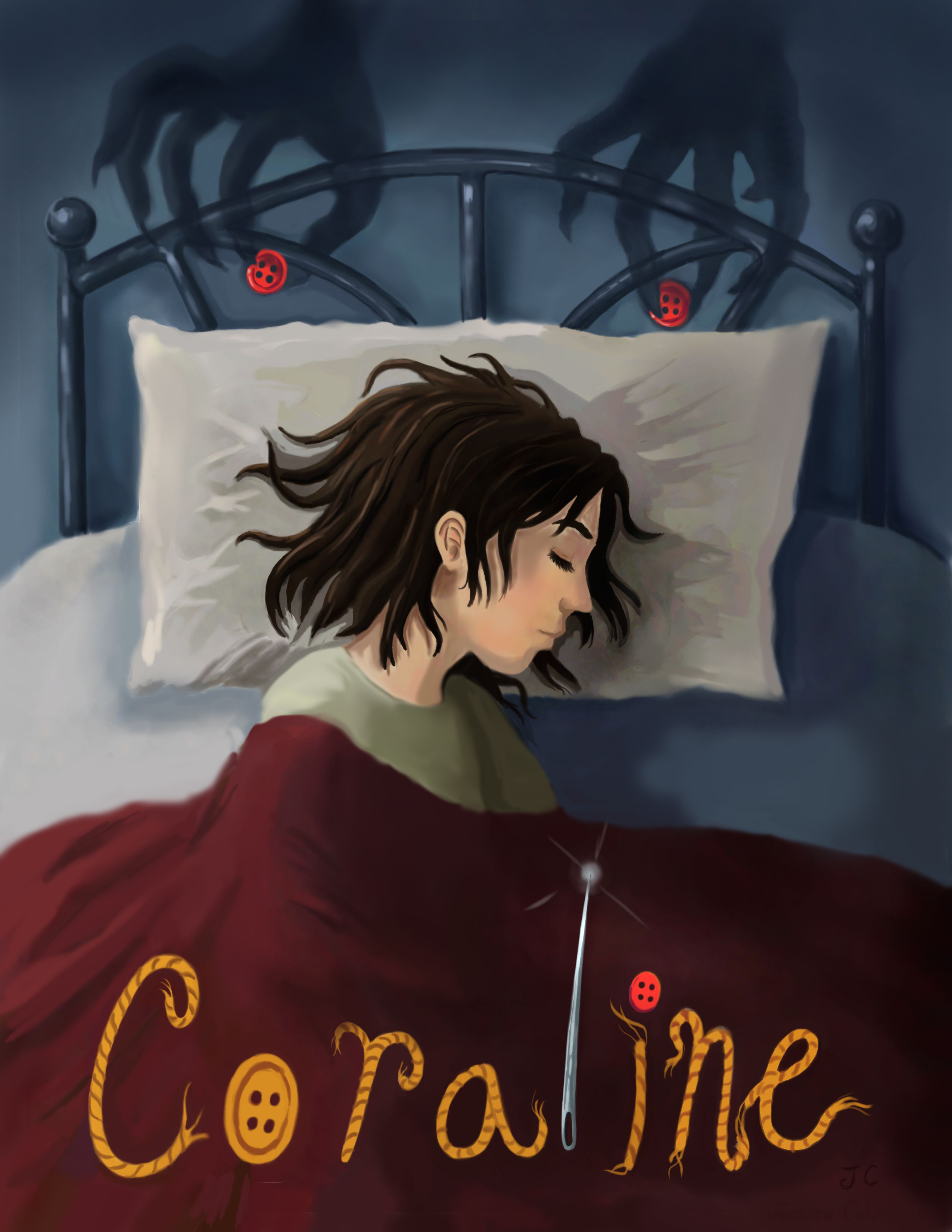 Book Cover Illustration Assignment : Coraline neil gaiman book review lorelaycci