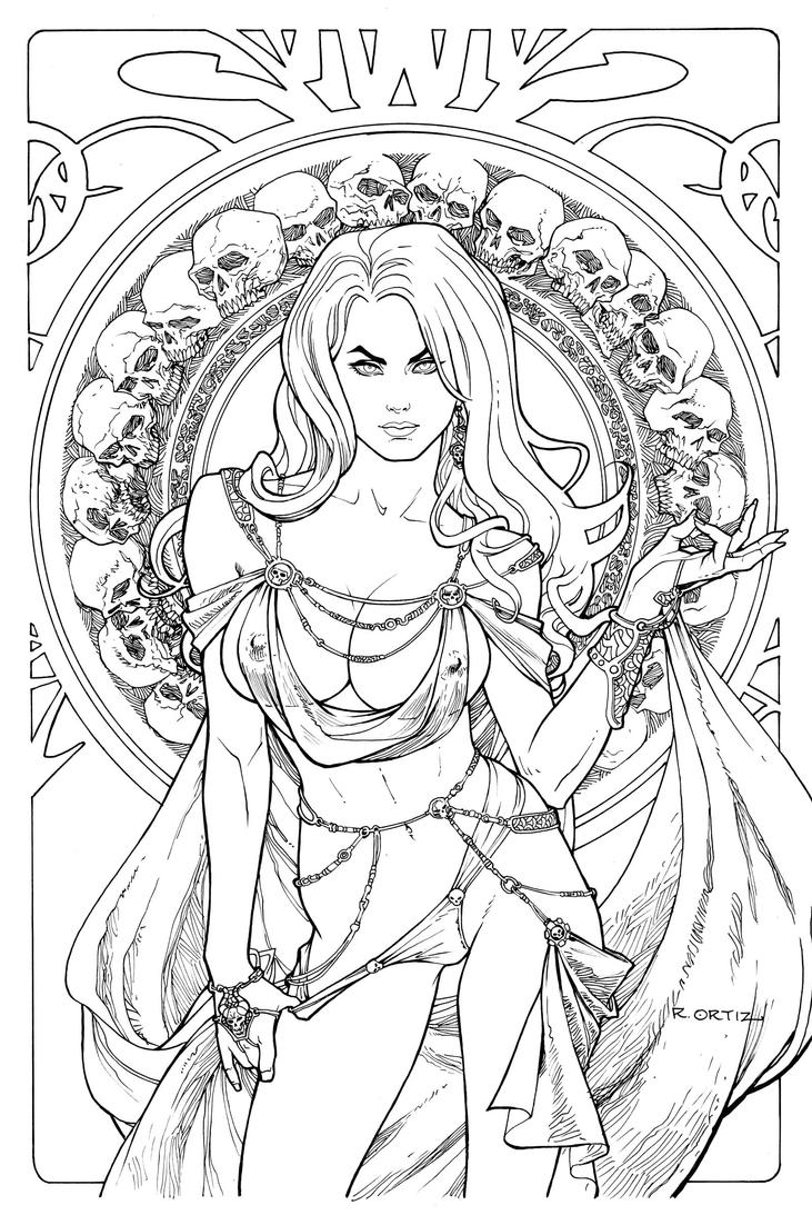 Line Drawing Jewel : Lady death regal jewel edition line art by ric on