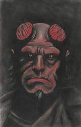 Hellboy drawing on art board - 11x17