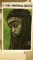 Walking Dead sketch cover of Michonne on issue 150