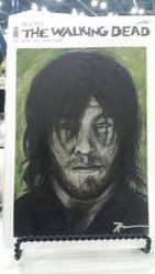 Daryl original sketch cover on a Walking Dead blan