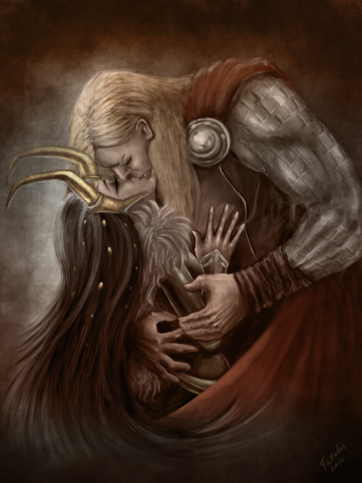 Asgard > Einar Thorson Thor_and_Loki_kiss_by_Fatalis_Polunica
