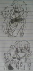 Megaman.EXE X April.EXE Sketches #2 by SnivyFennkinGirl