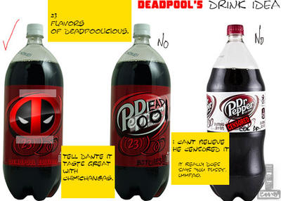 deadpool's dr.pepper drink idea (2 reject) part 2 by 3Ninja