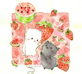 strawberries and watermelons by Melonkitten