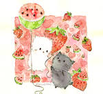 strawberries and watermelons