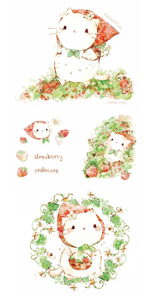 strawberry kitten by Melonkitten
