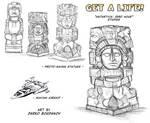 Studio - Statue Maya e aeronave