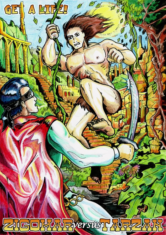 GaL bonus color art - Zigomar versus Tarzan by martin-mystere