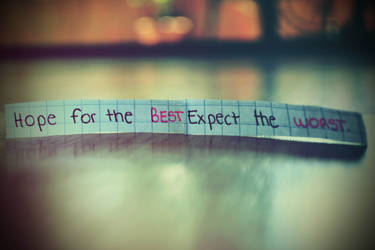 Hope for the best, expect the worst.
