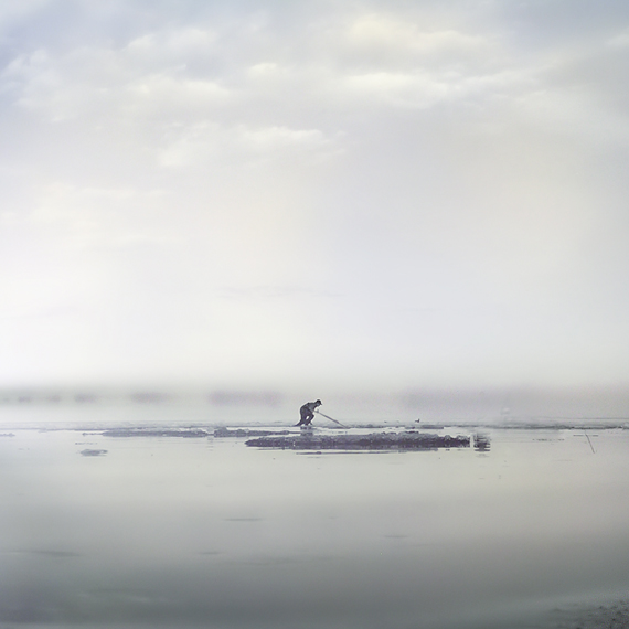Ice Fisher In The Fog by intao