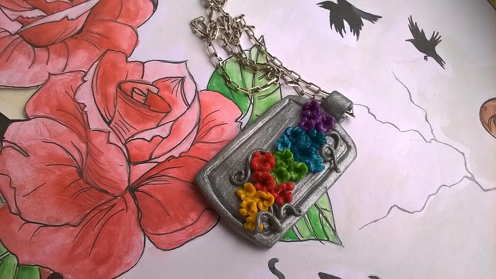 Simple Rainbow Flowers pendant by soophieO