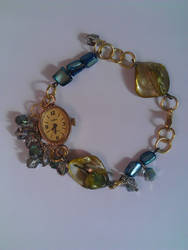 Steampunk watch piece crystal bracelet