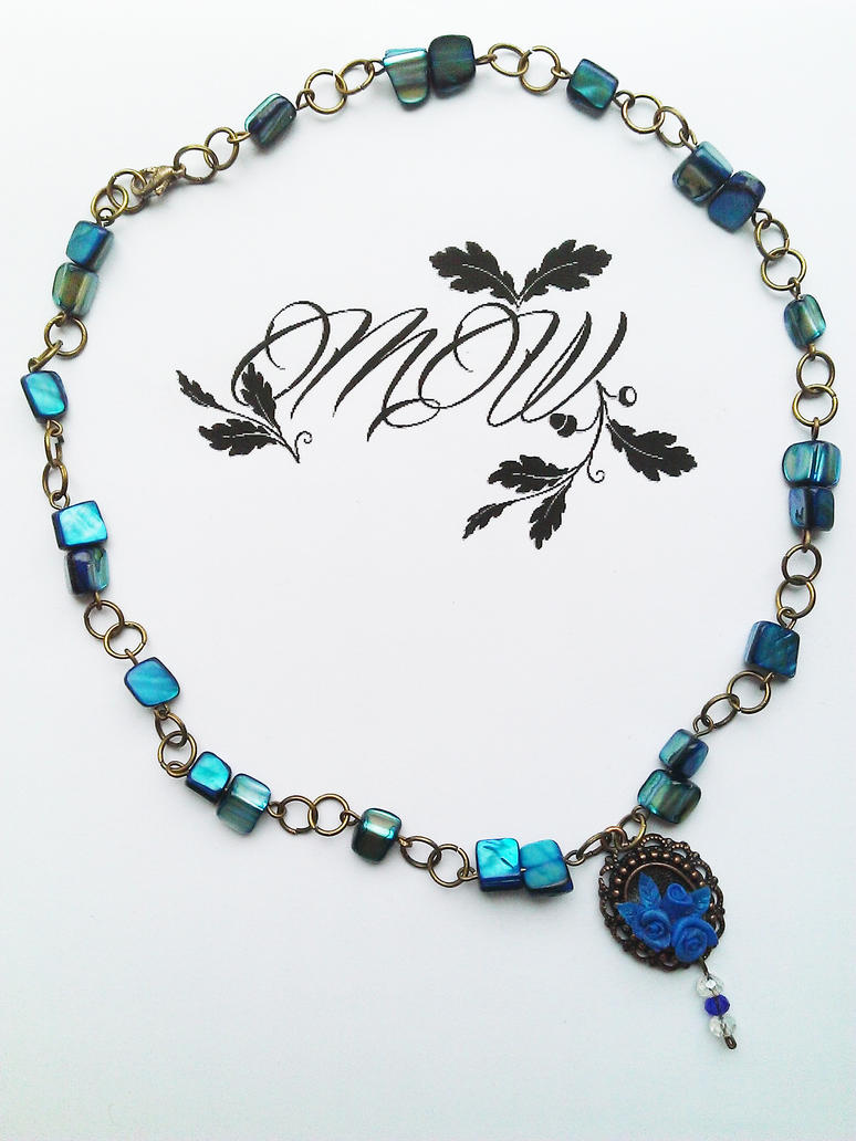 Neo-victorian Tiny Blue Rose Necklace by soophieO