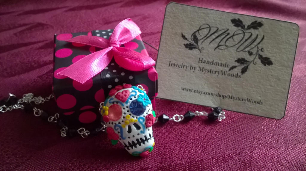 Dia de los Muertos Sugar Skull Pendant by soophieO