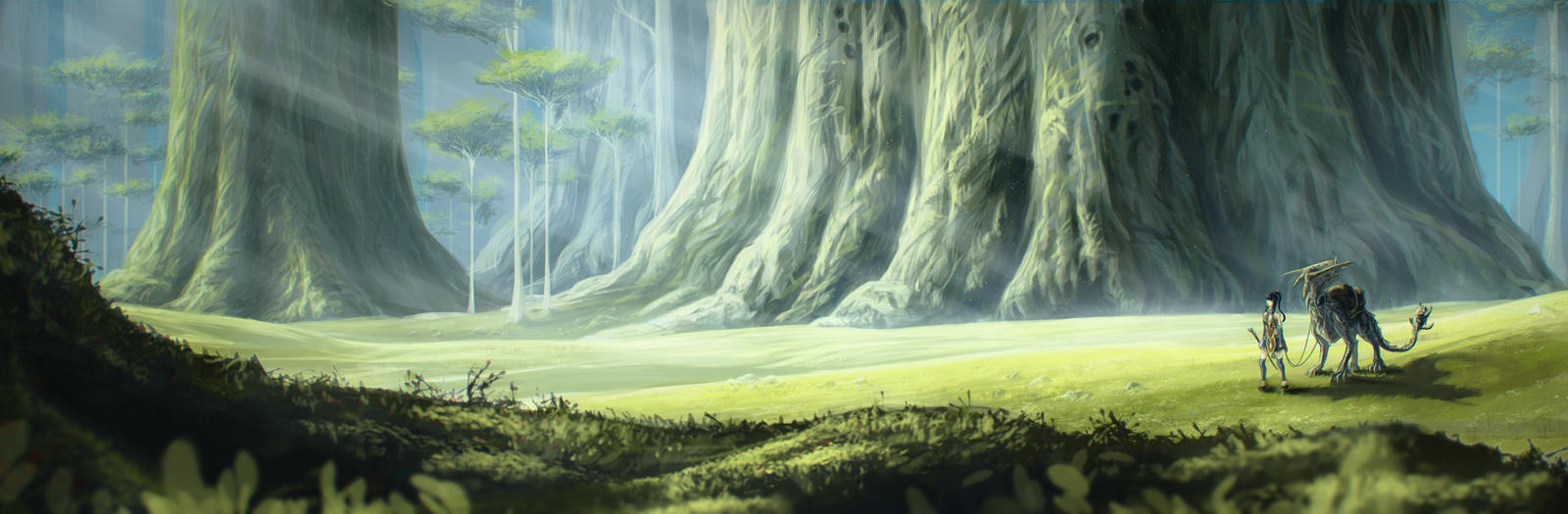Anime Scenery Forest In the forest of giants by