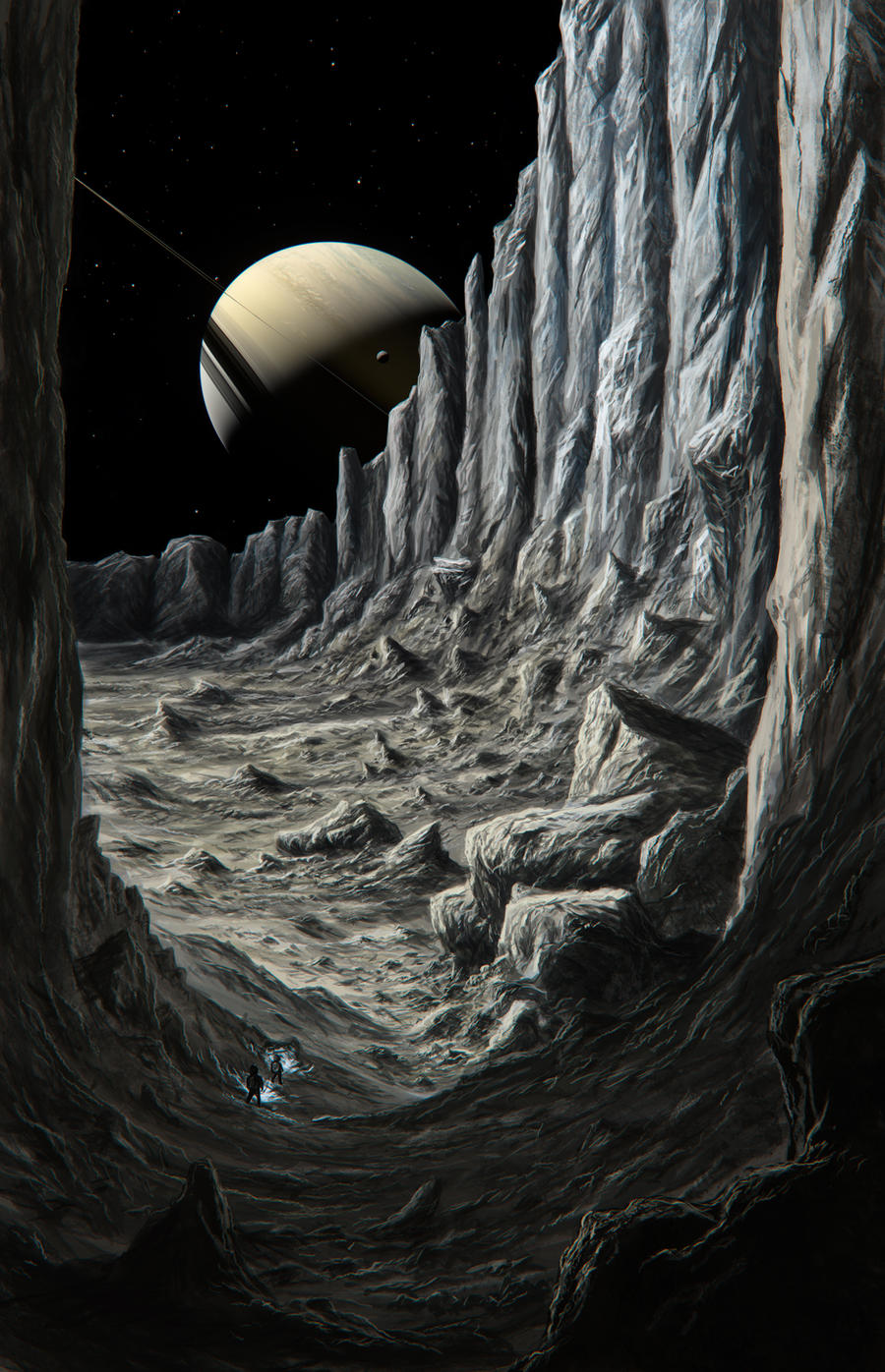 Canyon of the icy moon