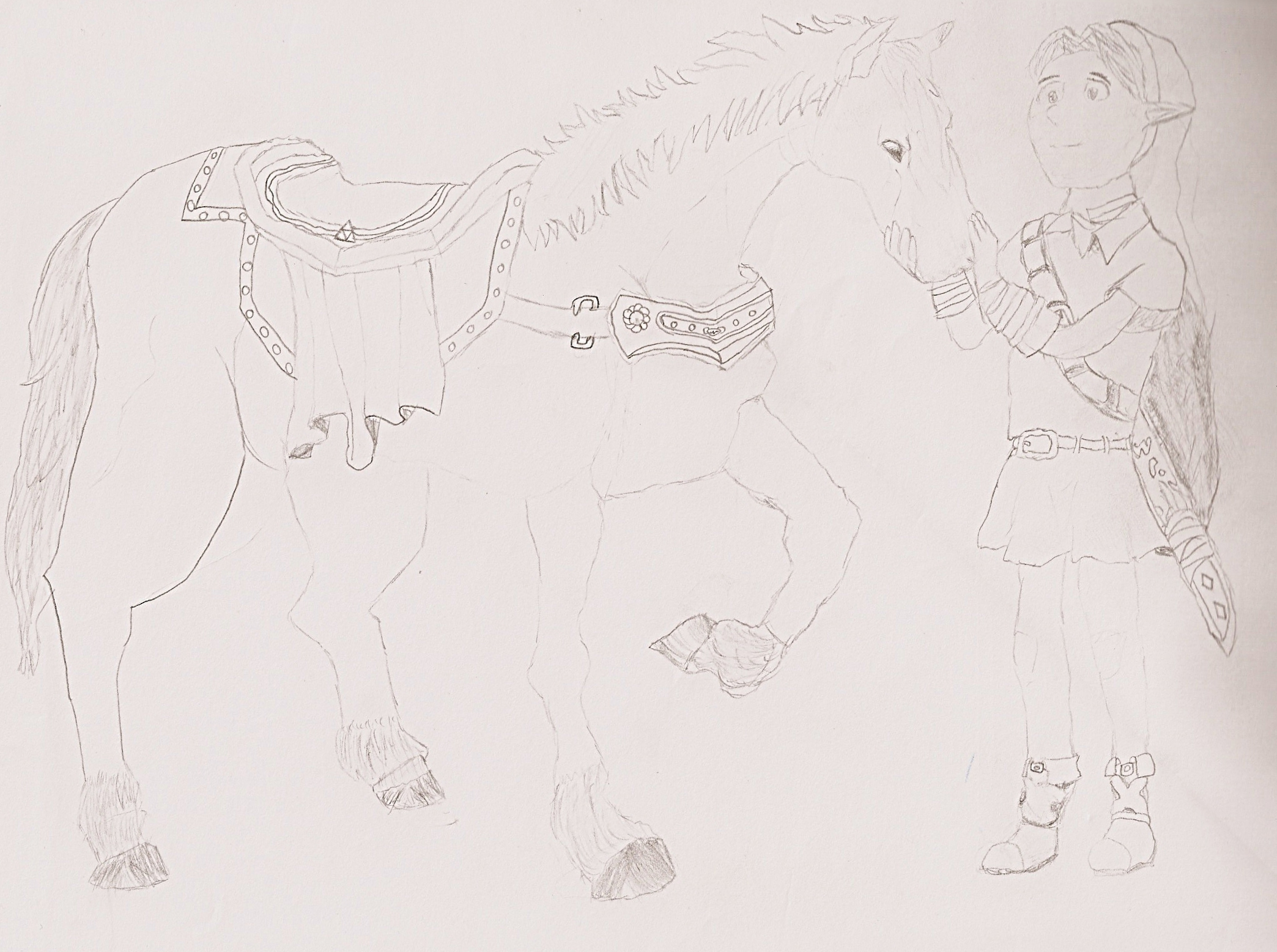 Link and Epona - Pencil Sketch by Da-Mainman