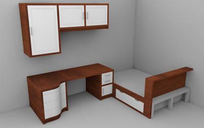 New Desk/Room Render 1 by steveee
