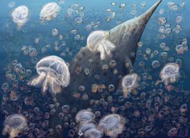 Shonisaurus amongst jellies by PrehistoryByLiam