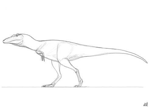 Qianzhousaurus Sketch by PrehistoryByLiam