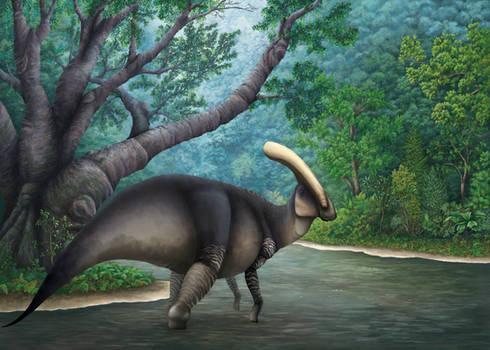 Parasaurolophus walkeri at riverbend