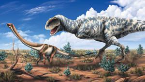 Majungasaurus hunting juvenile Rapetosaurus