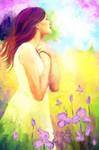 girl in the iris field